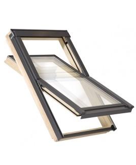 BALIO Holz Dachfenster fürs Dach + Eindeckrahmen (VKR Velux Konzern) - 66x112 cm