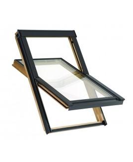 FENETRO Holz Dachfenster fürs Dach + Eindeckrahmen (VKR Velux Konzern) - 55x78 cm